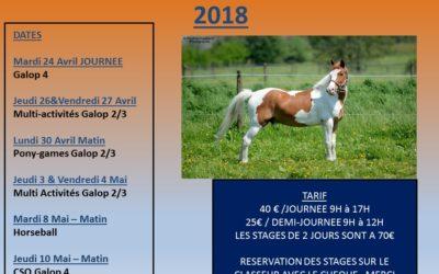 Stages d'équitation PAQUES 2018